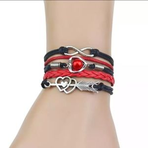 Jewelry - New Leather Wrap infinity charm bracelet